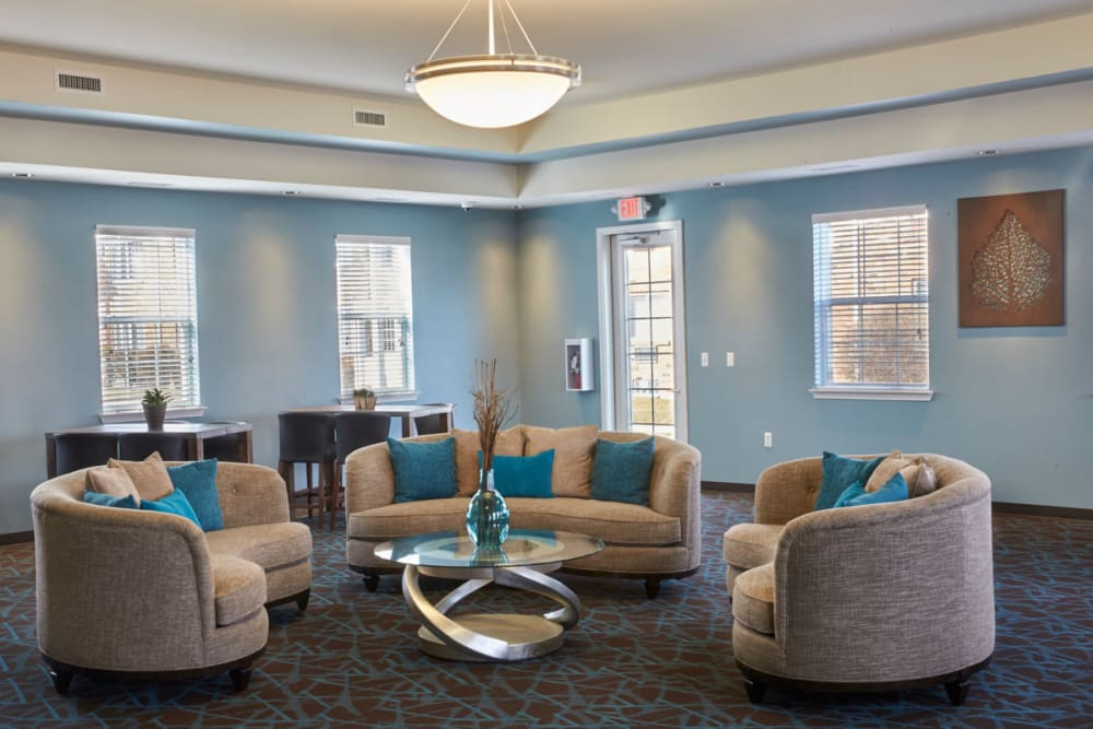 Seating in the clubhouse at Lexington Village Apartments in Madison Heights, Michigan