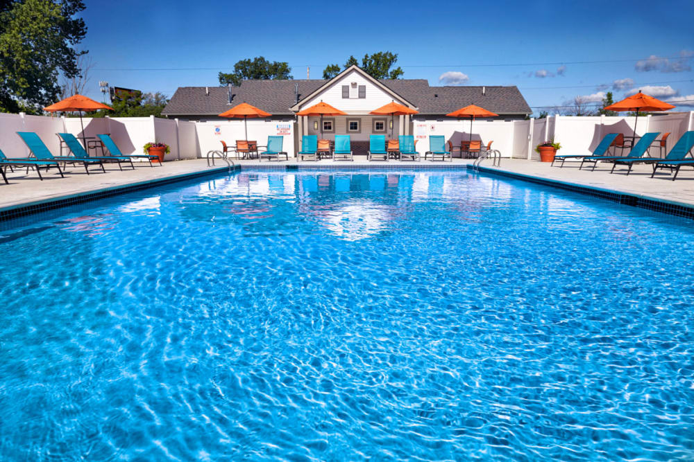 Sparkling swimming pool on a sunny day in Madison Heights, Michigan at Lexington Village Apartments