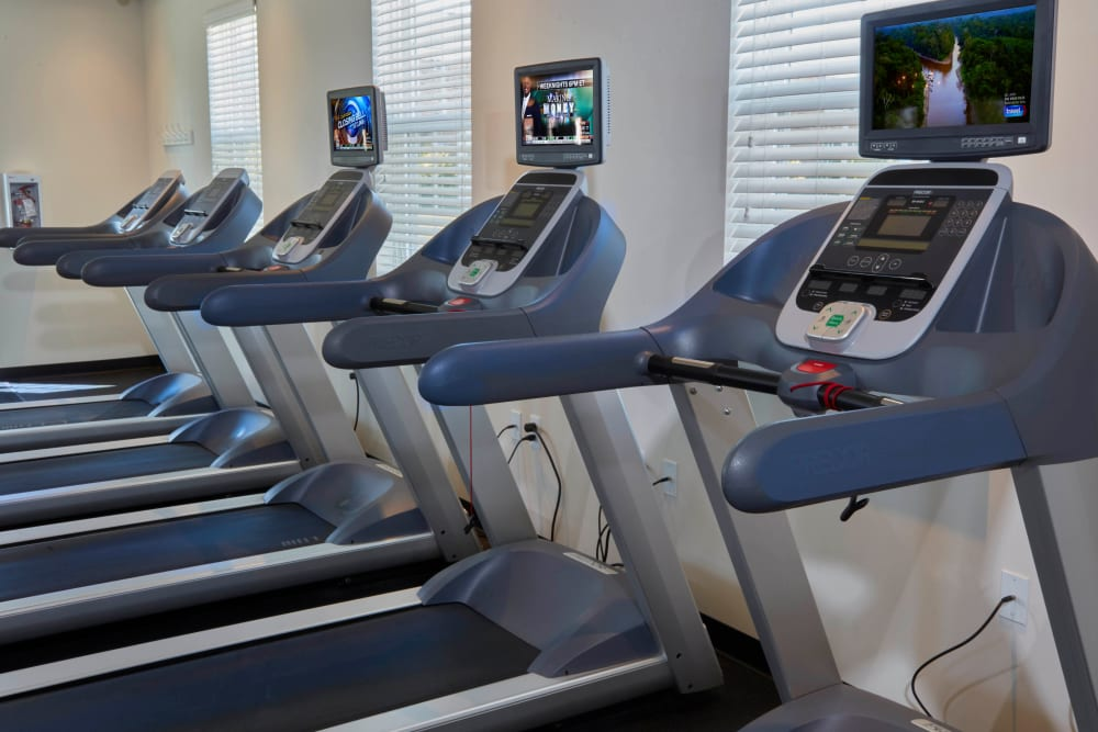 Treadmills in the fitness center at Lexington Village Apartments in Madison Heights, Michigan