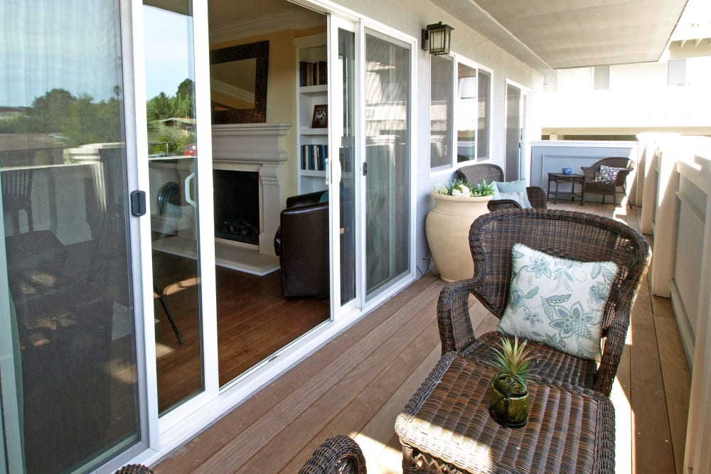 Private deck with outdoor furniture at Palmetto at Tiburon View in Tiburon, California