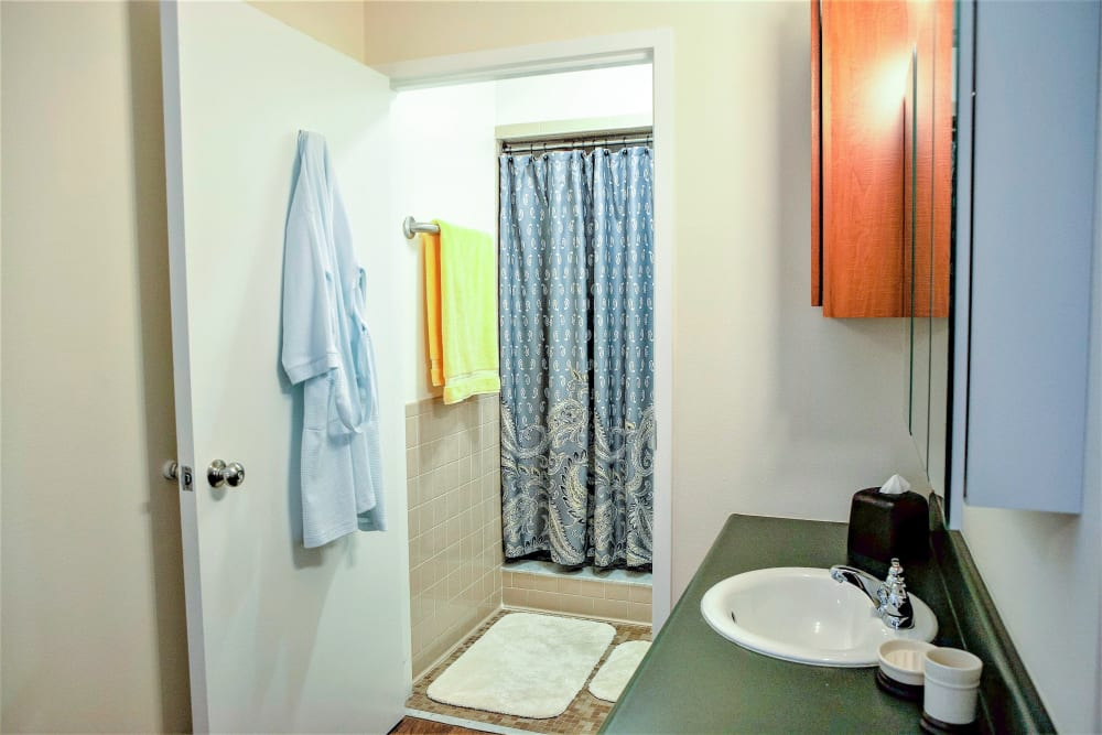 An apartment bathroom attached to the bedroom at The Grande in Brooksville, Florida