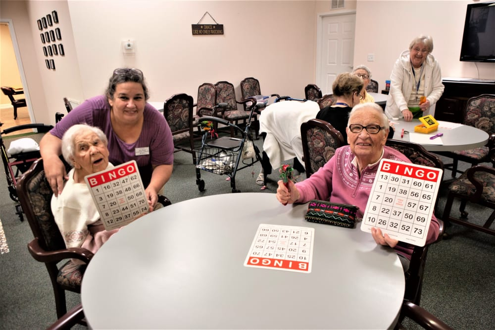 Residents playing bingo at The Grande in Brooksville, Florida