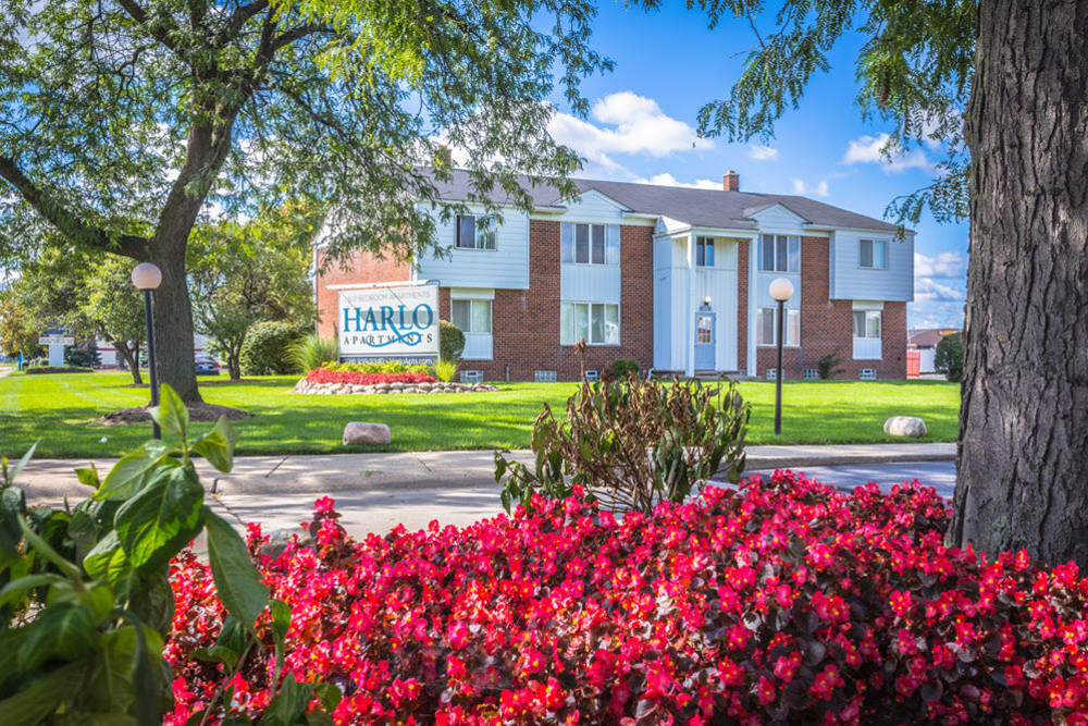 Lovely flower beds around Harlo Apartments in Warren, Michigan