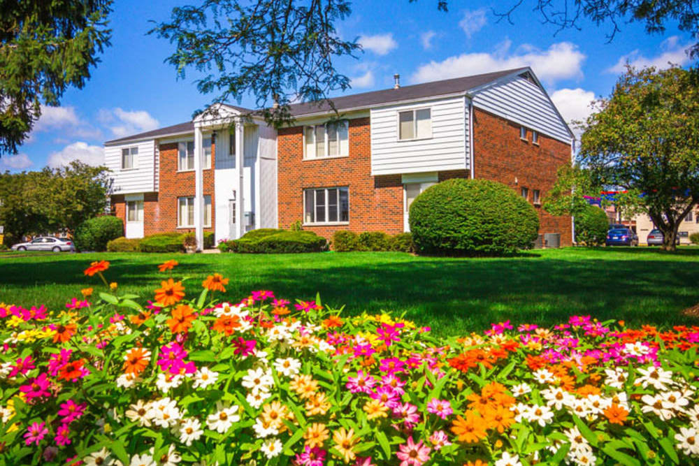 Various flower beds around Harlo Apartments in Warren, Michigan