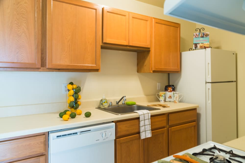 Decorated kitchen in model home at Harlo Apartments in Warren, Michigan