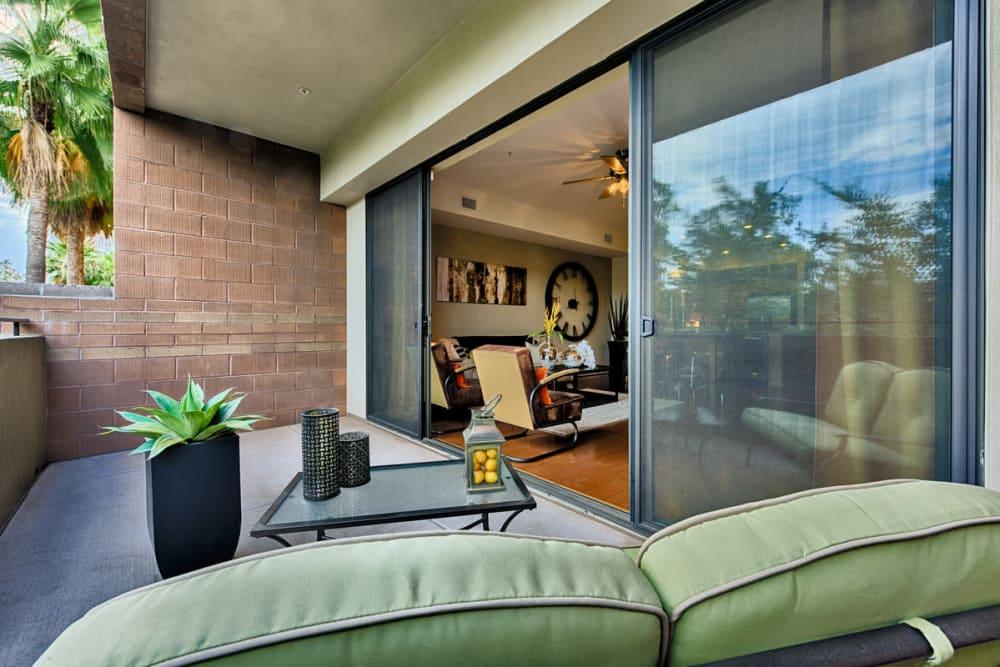 Luxury private balcony at Ten Wine Lofts in Scottsdale, Arizona