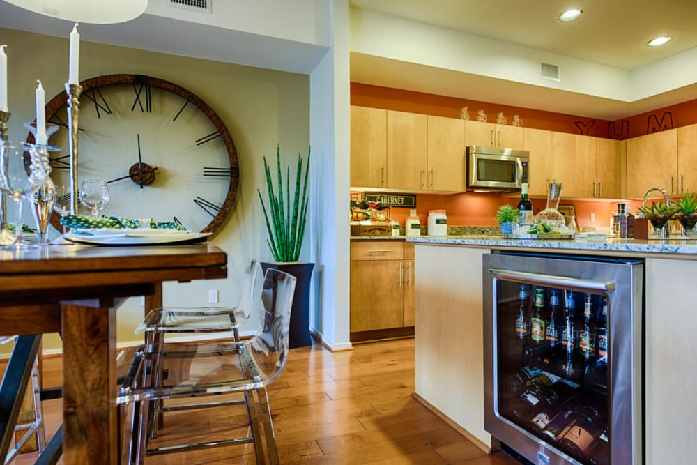 Beautifully decorated kitchen and dining space at Ten Wine Lofts in Scottsdale, Arizona