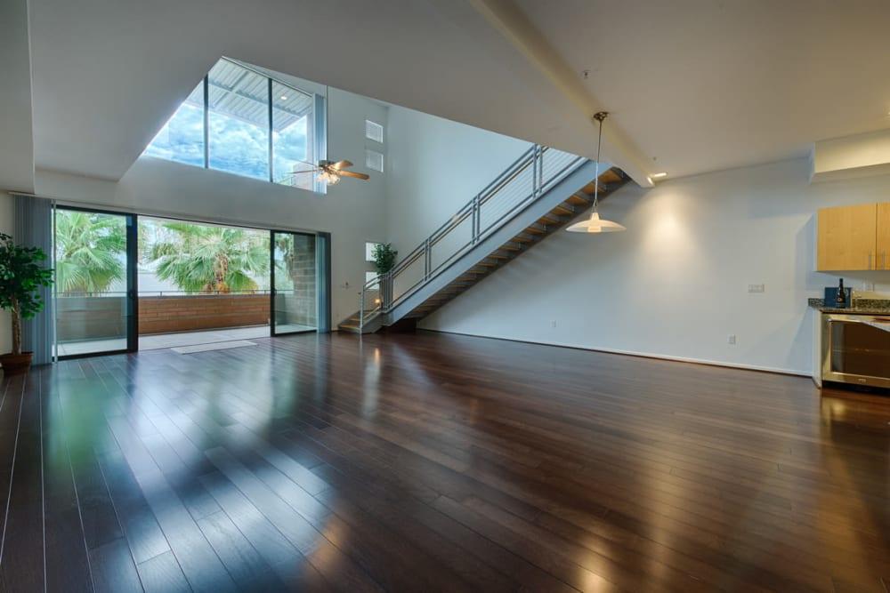 Open space with hardwood style floors at Ten Wine Lofts in Scottsdale, Arizona
