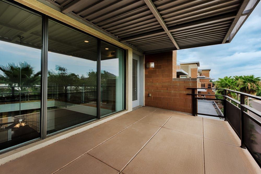 Huge open balcony at Ten Wine Lofts in Scottsdale, Arizona