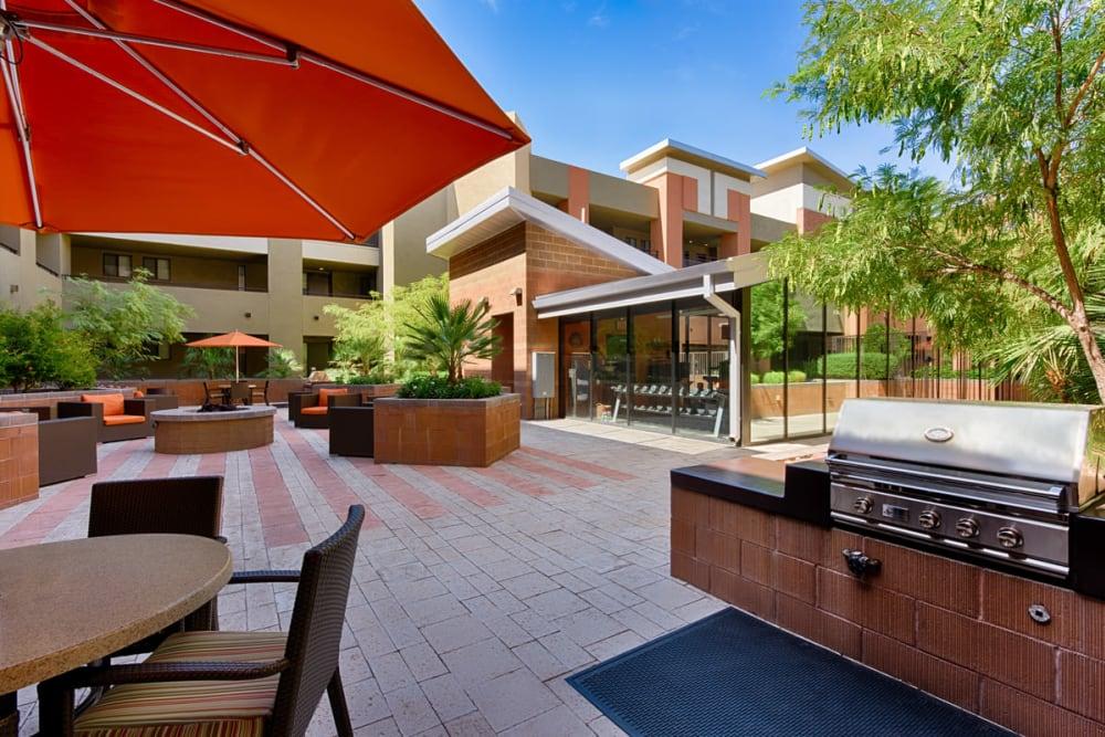 Shaded patio area at Ten Wine Lofts in Scottsdale, Arizona