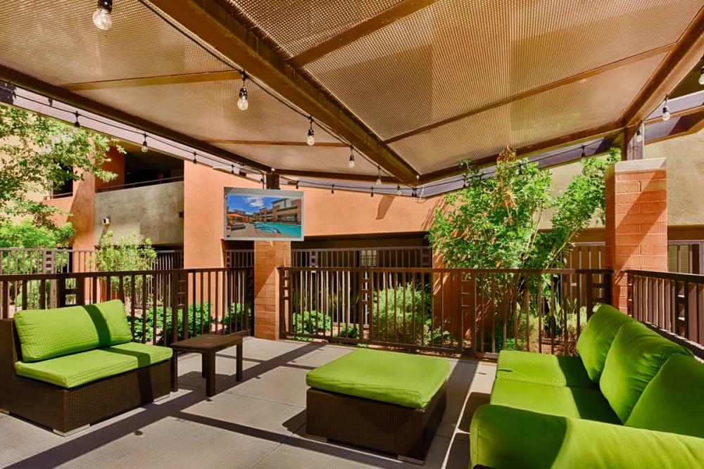 Covered patio seating at Ten Wine Lofts in Scottsdale, Arizona