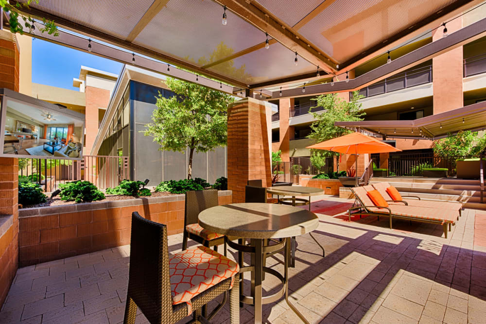 Covered outdoor seating at Ten Wine Lofts in Scottsdale, Arizona