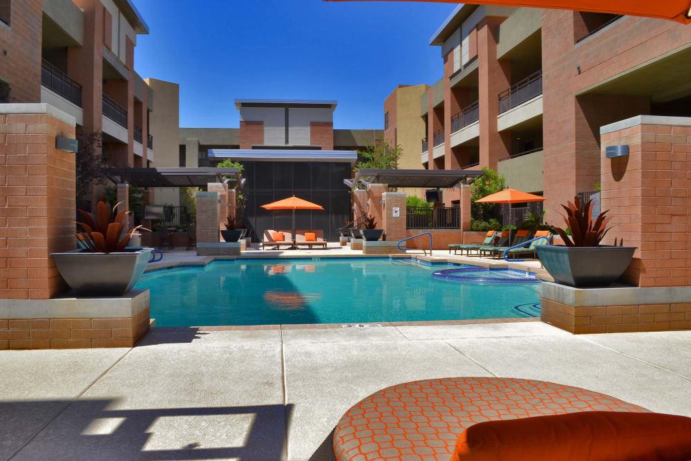 Courtyard pool at Ten Wine Lofts in Scottsdale, Arizona