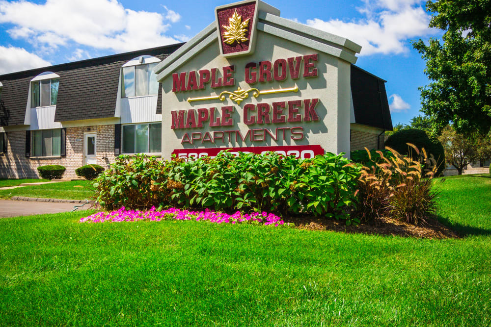 Sign at the entry of Maple Grove Apartments in Sterling Heights, Michigan