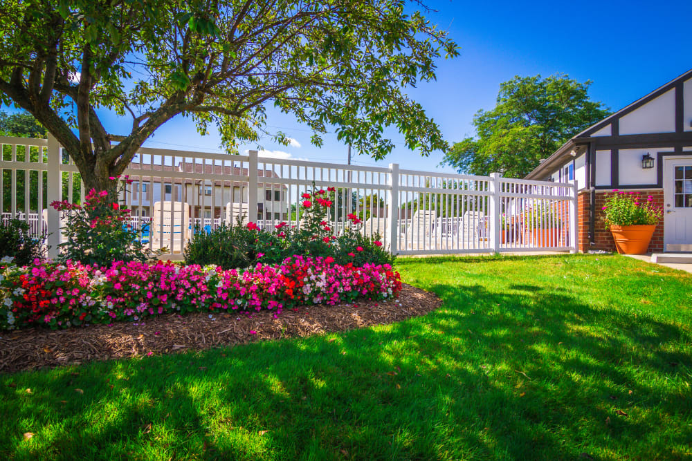 Beautiful flower beds around Maple Grove Apartments in Sterling Heights, Michigan
