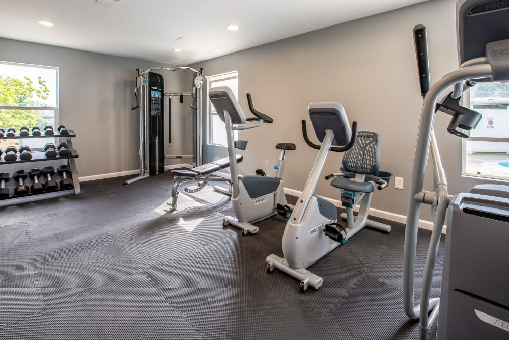 Equipment in fitness center at Meridian Meadows in Okemos, Michigan