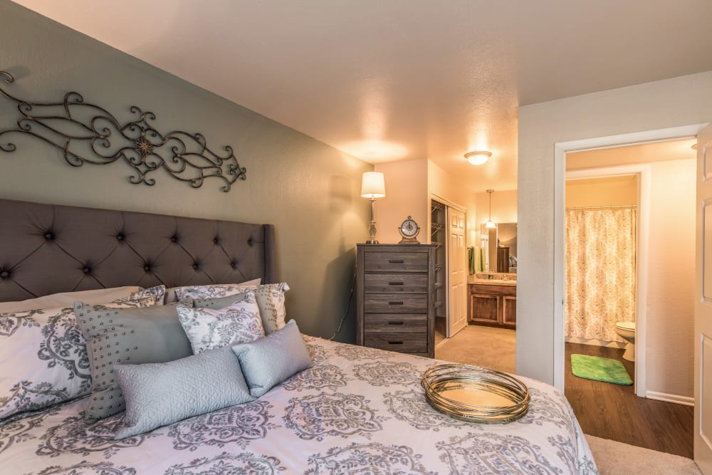 Illuminated master bedroom at Meridian Meadows in Okemos, Michigan