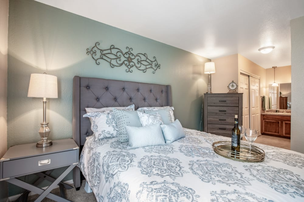 Large master bedroom in apartment at Meridian Meadows in Okemos, Michigan