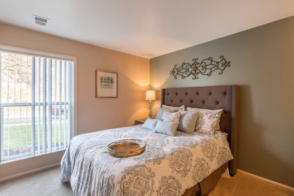 Master bedroom in model home in Okemos, Michigan at Meridian Meadows
