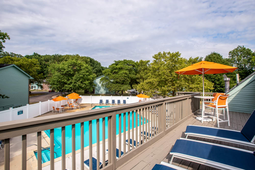 Looking at the swimming pool from the balcony at Meridian Meadows in Okemos, Michigan