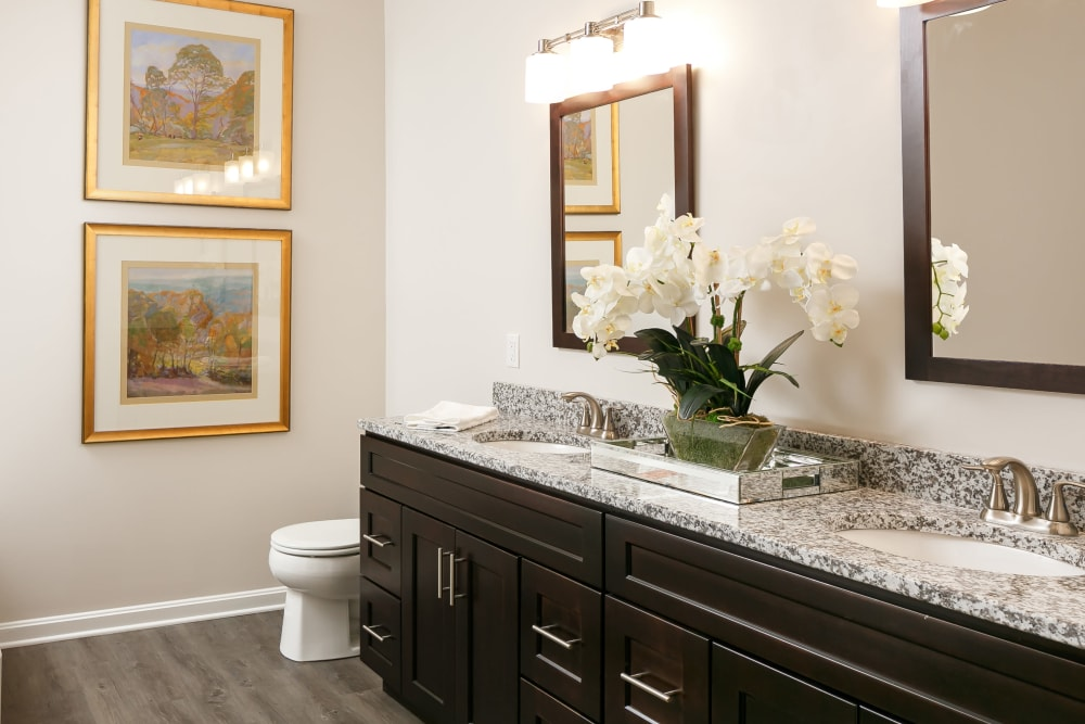 Bathroom with vanity mirrors and a granite countertop in a model home at Valley Farms in Louisville, Kentucky
