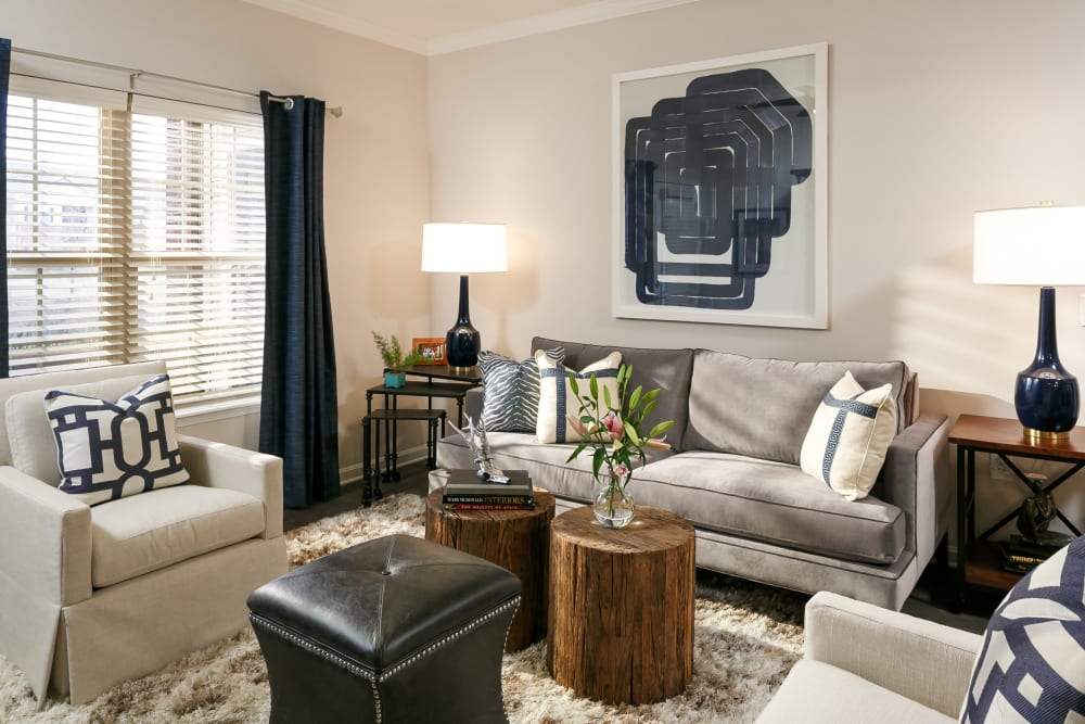 Modern decor in the living area of a model home at Valley Farms in Louisville, Kentucky