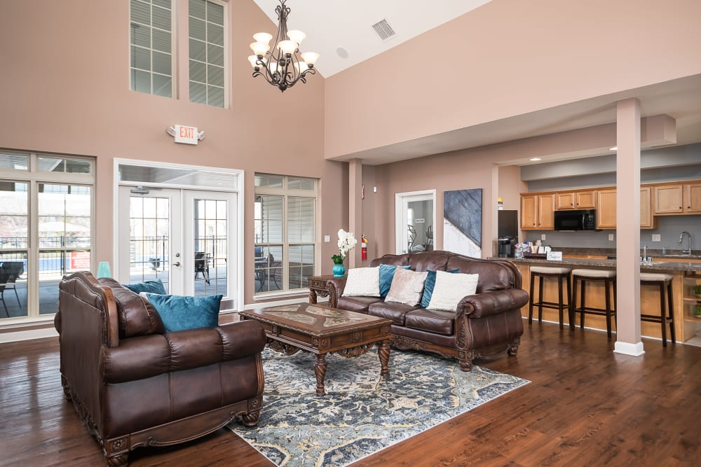 Comfortable seating in the clubhouse at Valley Farms in Louisville, Kentucky