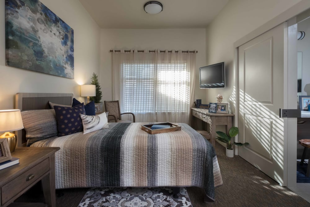A private bedroom at Avenir Memory Care at Surprise in Surprise, Arizona
