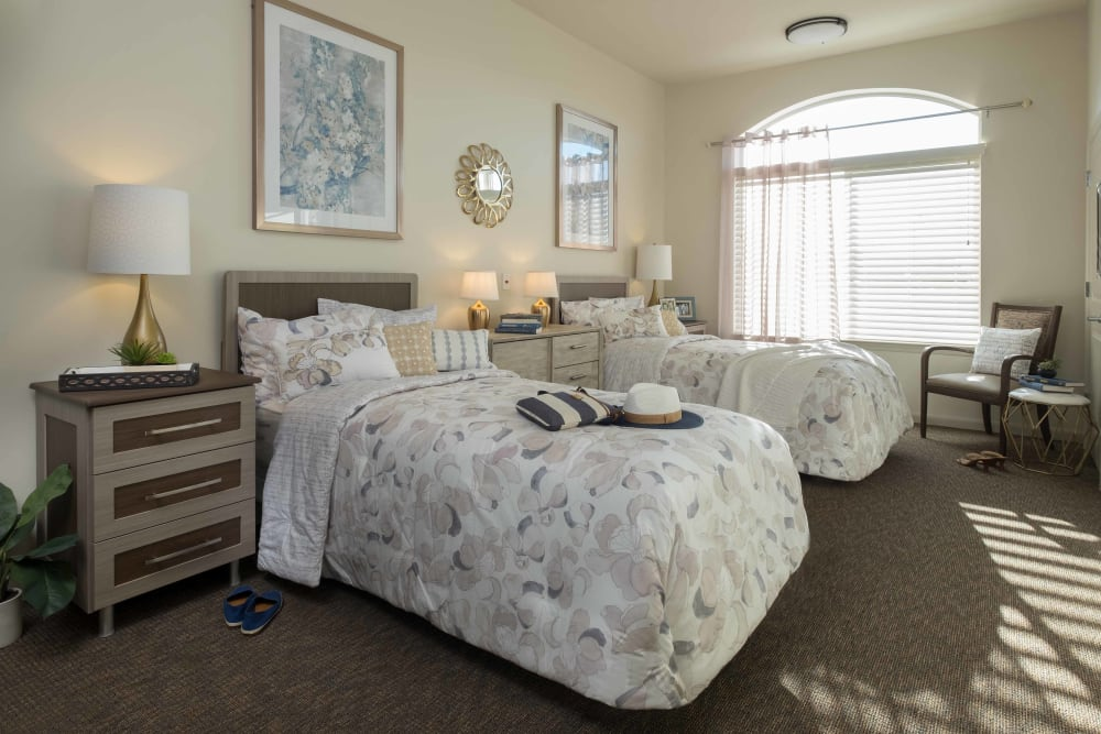 A shared bedroom at Avenir Memory Care at Surprise in Surprise, Arizona