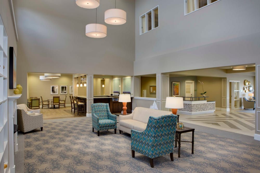 Main lounge at Beach House Assisted Living & Memory Care Naples in Naples, Florida