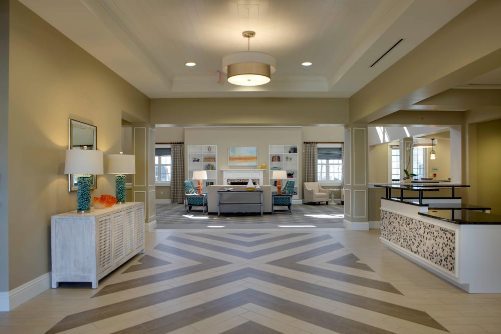 Foyer to the main atrium at Beach House Assisted Living & Memory Care Naples in Naples, Florida