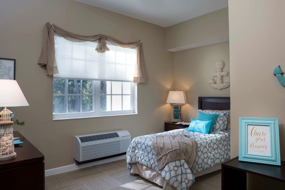 Single person bedroom at Beach House Assisted Living & Memory Care Naples in Naples, Florida