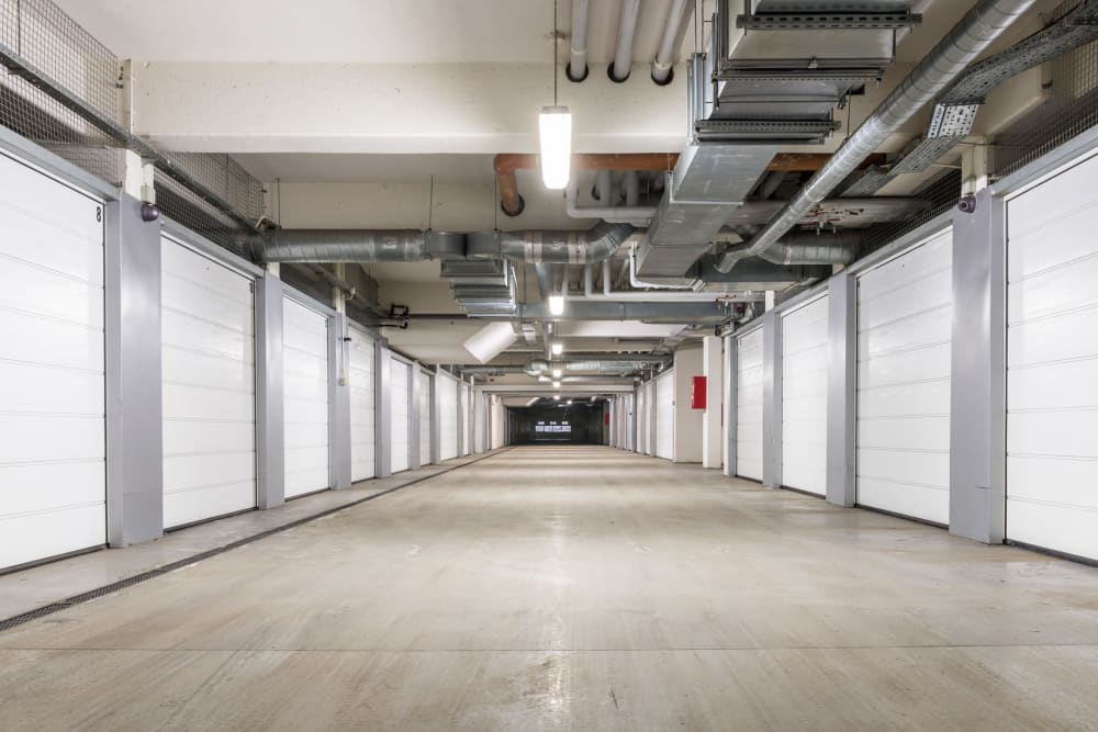 Clean and spacious hallways at Falcon Point Self Storage in Windsor, Colorado.