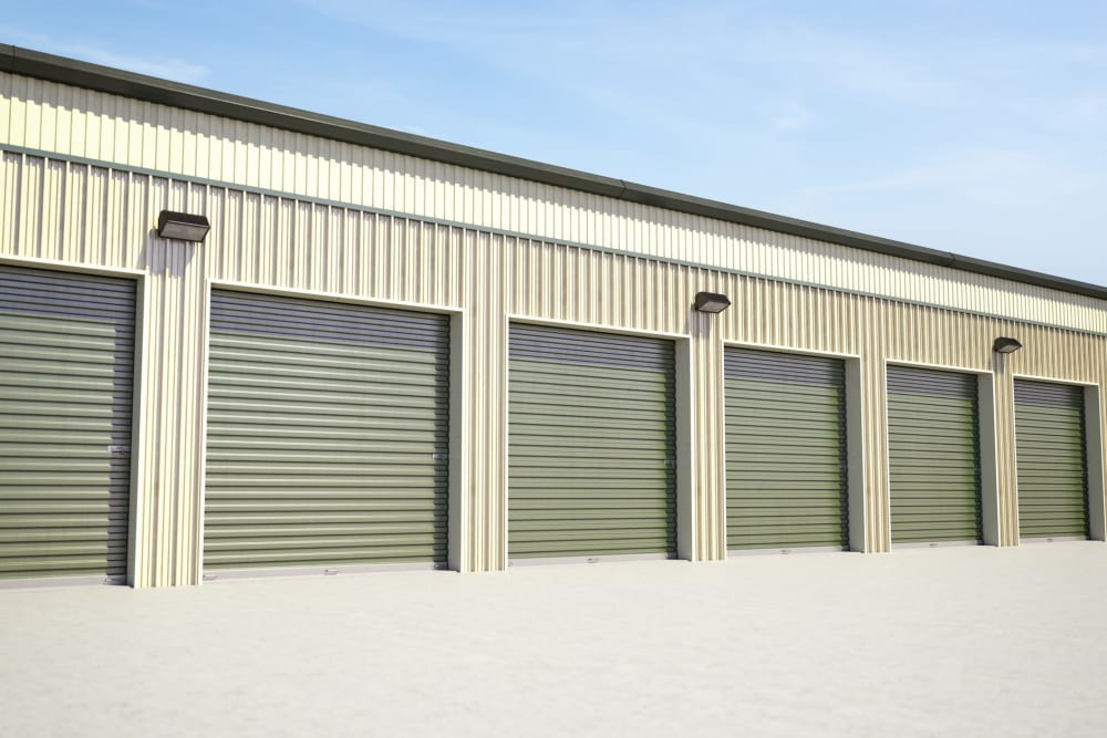 Drive-up storage units at Falcon Point Self Storage in Windsor, Colorado.