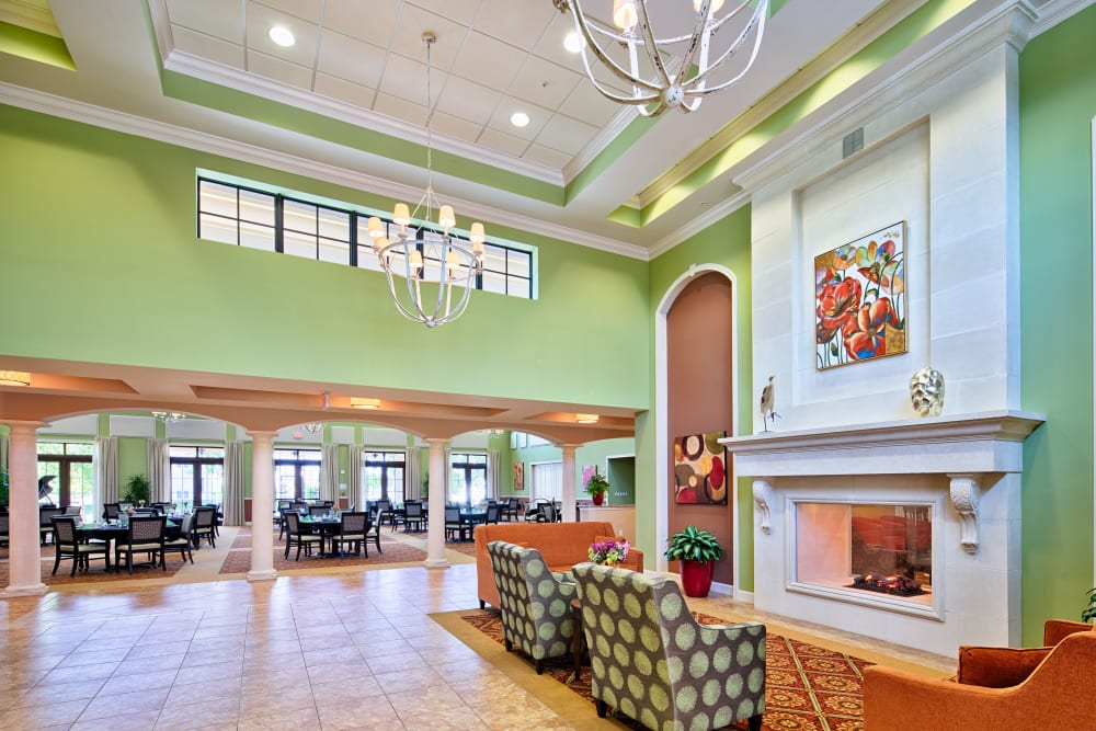 Large fireplace at Cypress Point in Fort Myers, Florida