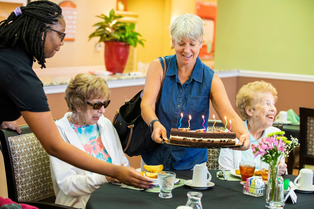 Senior celebrating her birthday at Cypress Point in Fort Myers, Florida