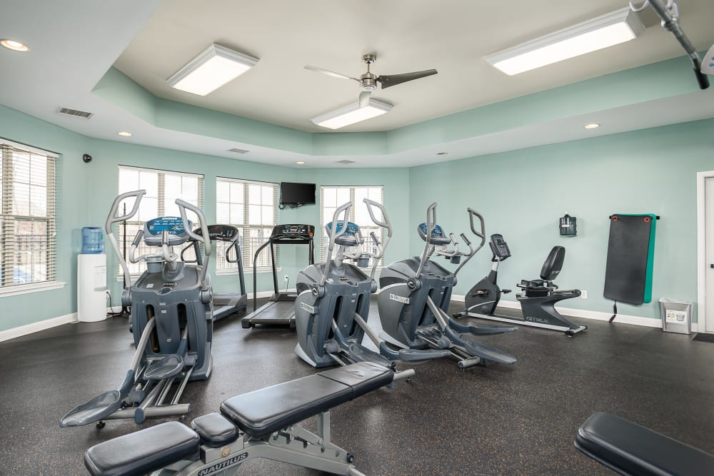 A variety of equipment in the fitness center at Valley Farms in Louisville, Kentucky