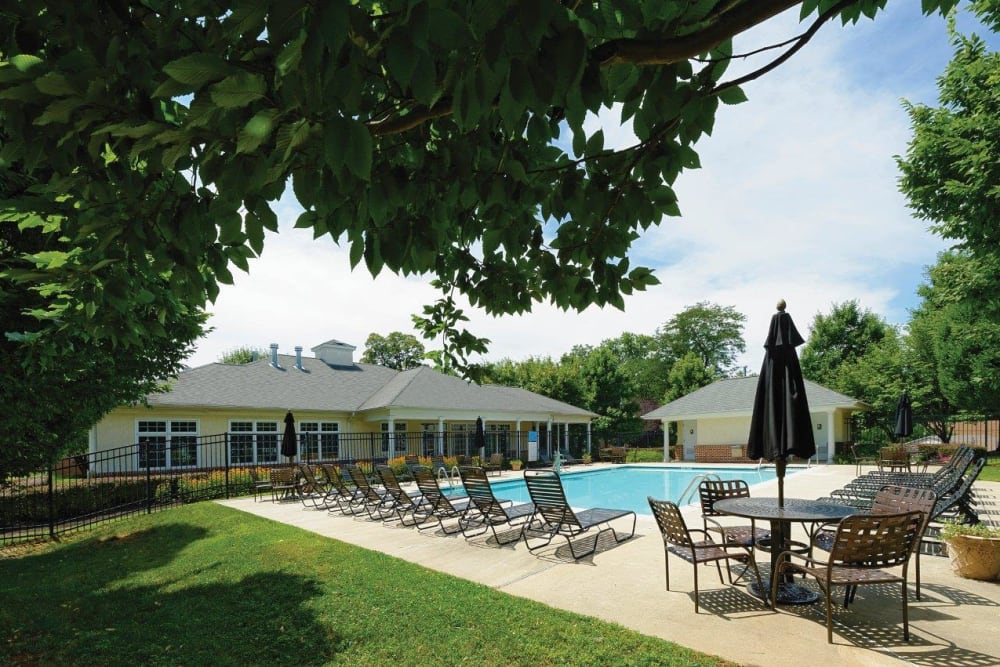 Swimming pool at Hill Brook Place Apartments in Bensalem, Pennsylvania