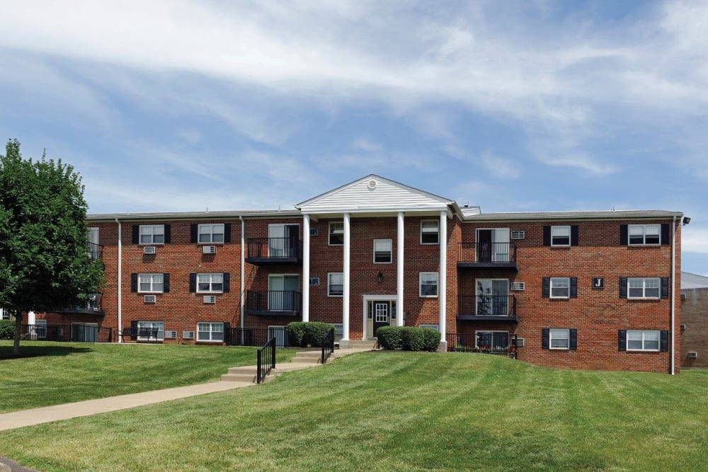 Exterior of Hill Brook Place Apartments in Bensalem, Pennsylvania