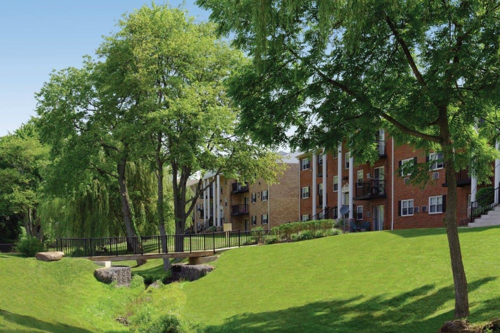 Lush landscape at Hill Brook Place Apartments in Bensalem, Pennsylvania