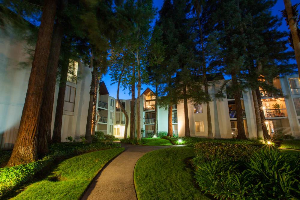 Walking path at night in Walnut Creek, California at Castlewood Apartments
