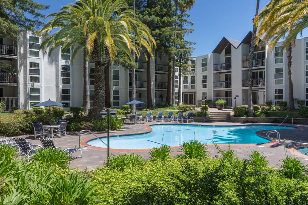 Resort-style swimming pool at Castlewood Apartments in Walnut Creek, California