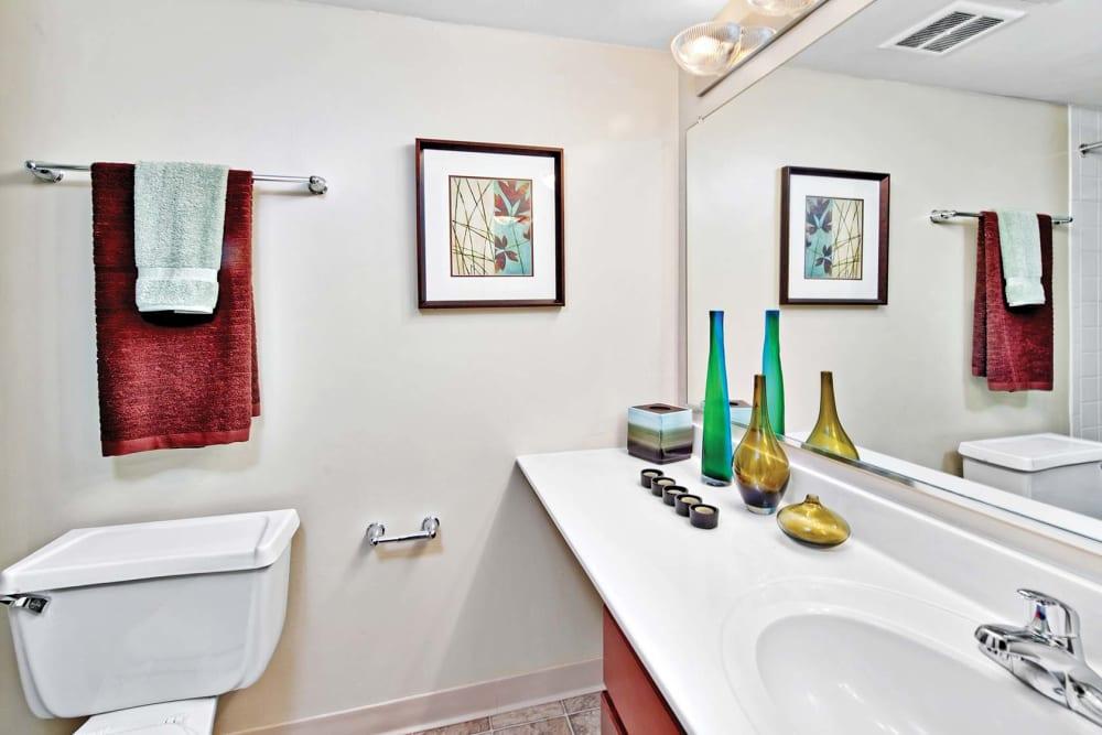 Homey bathroom at Lakeside Apartments in Lisle, Illinois