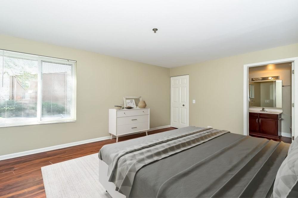 Sunlit bedroom at Lakeside Apartments in Lisle, Illinois