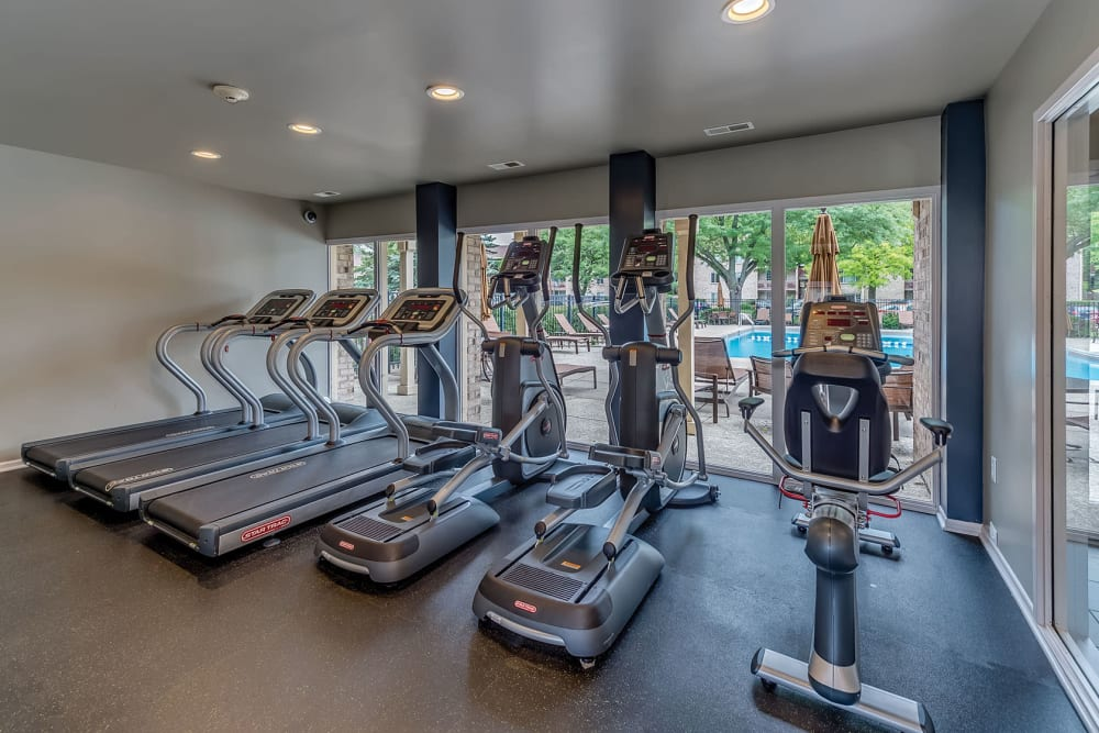 Fully equipped gym at Lakeside Apartments in Lisle, Illinois