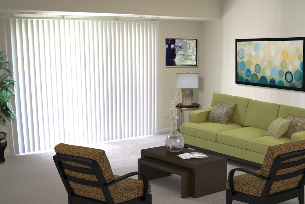 Model living room at East Meadow Apartments in Fairfax, Virginia