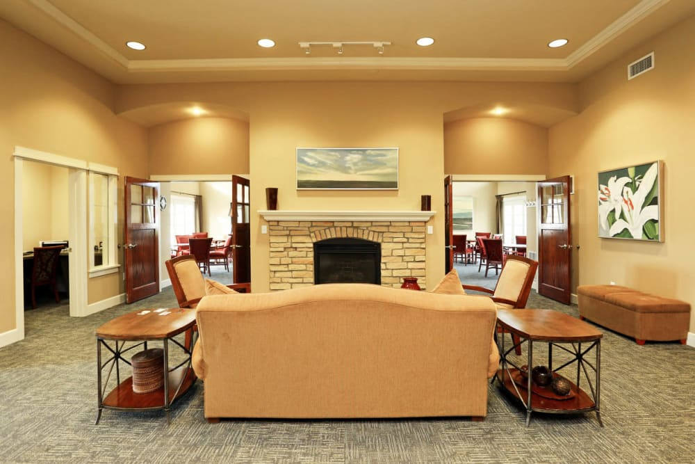 Clubhouse interior at Mansions at Hemingway in Johnston, Iowa
