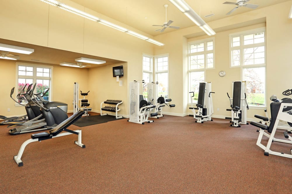 Fitness center for residents at Mansions at Hemingway in Johnston, Iowa