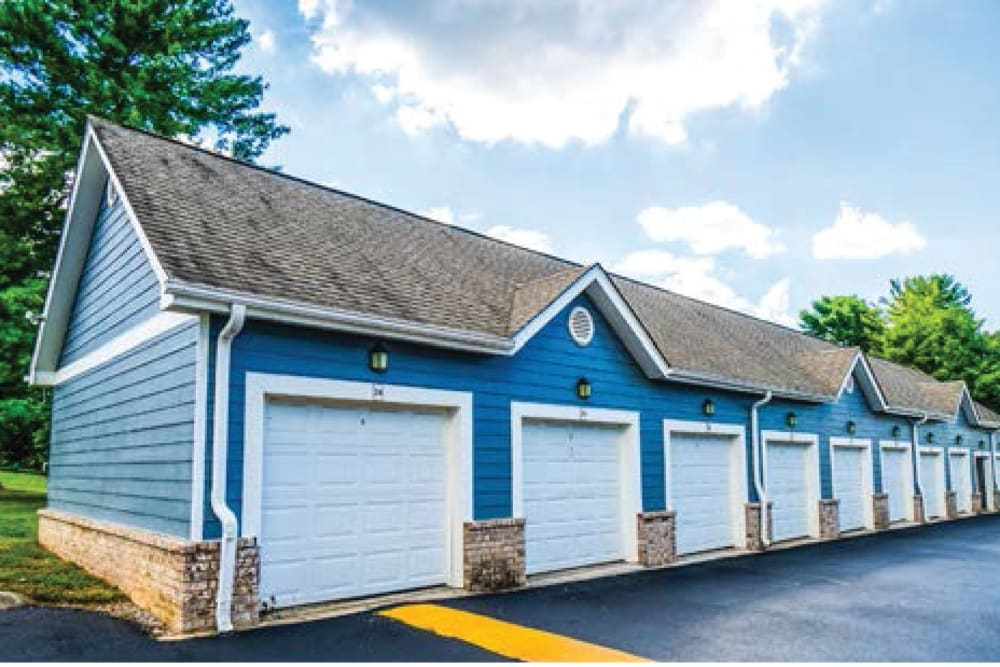 Garages available at 865 Bellevue Apartments in Nashville, Tennessee.