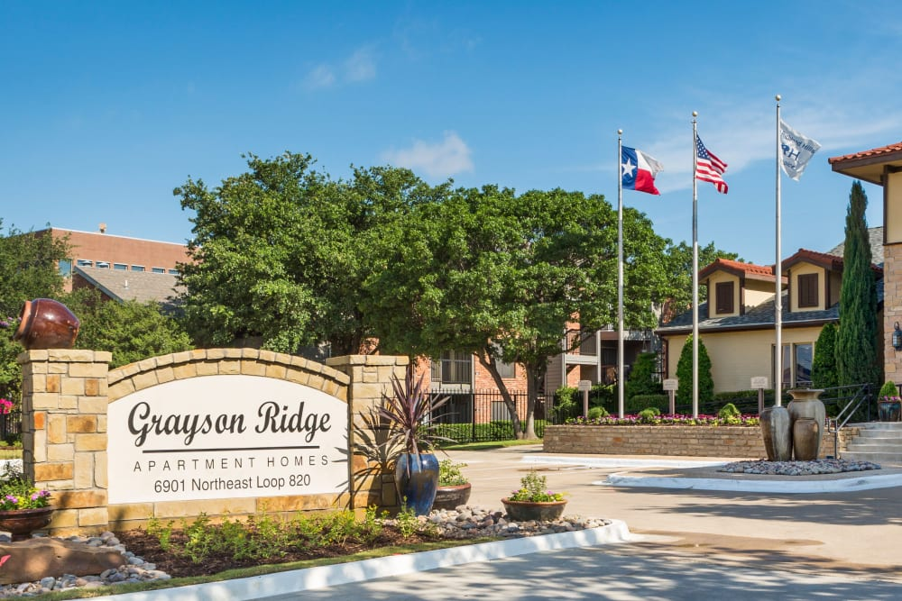Our monument sign welcoming residents and their guests to Grayson Ridge in North Richland Hills, Texas